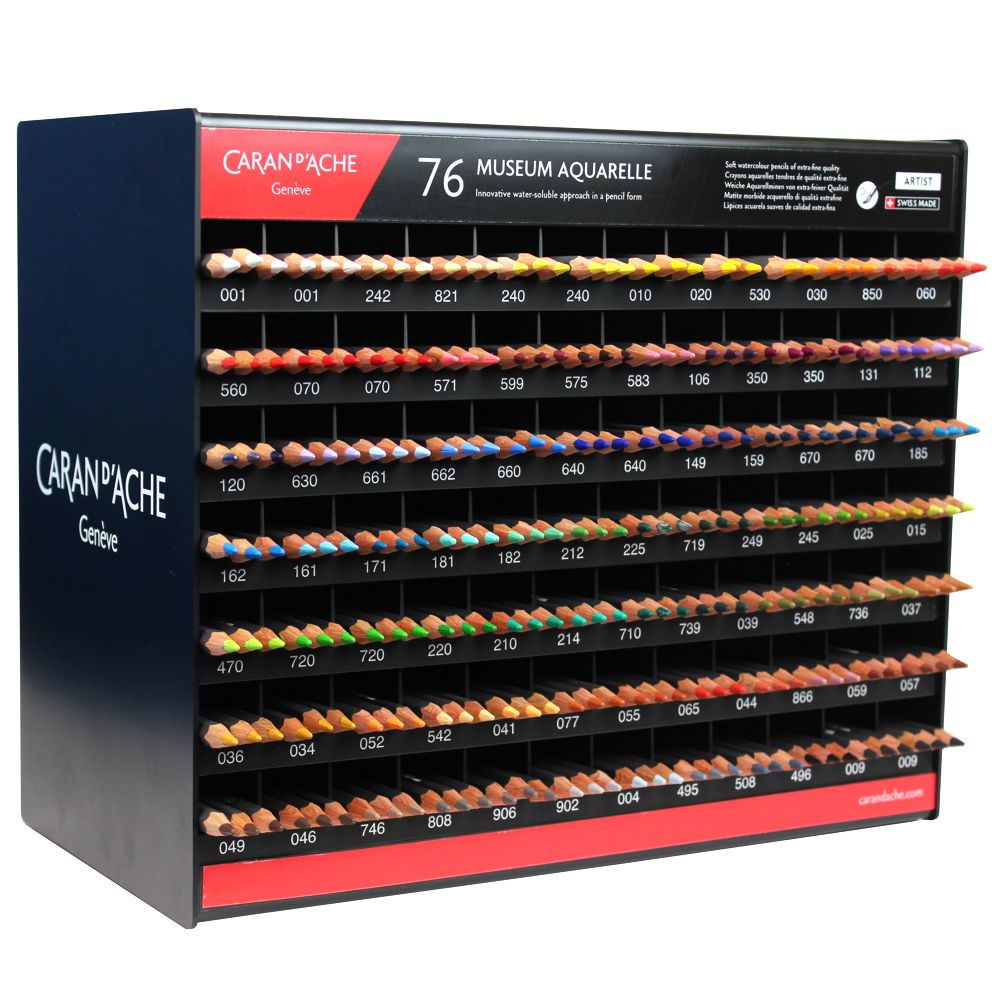 display caran d ache aquarela museum 76cores